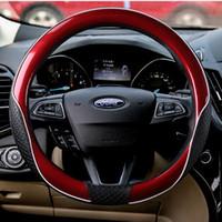 чехлы на рулевое колесо nissan оптовых-38 см авто руль чехол для Ford Fiesta Mondeo Furus Nissan Honda Volkswagen BMW GM Chevrolet красный синий черный