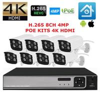 8ch ip kamera nvr großhandel-Neu! 48V H.265 4K 8CH POE NVR System 5MP NVR mit 8pcs 4MP Onvif POE IP Überwachungskamera 8CH Videoüberwachungssystem 4K Anzeige