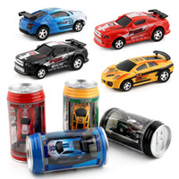 Wholesale Wholesale Mini Micro Remote Control - New styles Creative Coke Can Remote Control Mini Speed RC Micro Racing Car Vehicles Gift For Kids Xmas Gift Radio Contro Vehicles