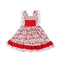robe de fête de dentelle rouge bébé achat en gros de-2018 Nouveau Noël Kid Bébé Filles Robe Rouge Cher Sans Manches En Dentelle Party D'anniversaire De Noël Robes Pour Filles De Noël Costumes