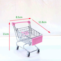 Wholesale toy shopping trolleys resale online - Mini shopping cart small supermarket trolley metal craft ornaments model egg claw toy creative cart