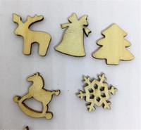 ingrosso decorazione di fiocchi di neve-100 pezzi di legno naturale fai da te albero di natale appeso ornamenti ciondolo regali albero fiocchi di neve tavolo bottiglia Dty decorazione