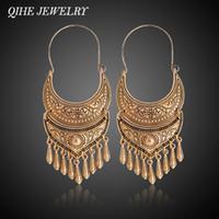 tibetische goldohrringe großhandel-QIHE SCHMUCK Alte Silber Gold Farbe Tibetischen Ohrring Boho Baumeln Charme Aussage Silber Farbe Gypsy Schmuck brincos