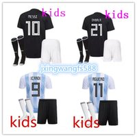 Wholesale Best Youth Jerseys - Argentina kids Soccer Jersey 2018 World Cup Home white&blue away black football uniform 18 19 best quality Child youth football shirts
