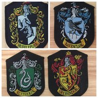 Wholesale cross jacket - 4 styles COSPLAY Harry Potter shcool patches sew-on Gryffindor Slytherin Ravenclaw Hufflepuff patches Embroide for coat jacket GGA123 100PCS