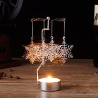 Wholesale Spinning Holder - Crazy promotion! Hot Spinning Rotary Metal Carousel Tea Light Candle Holder Stand Light Xmas Gift