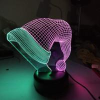 juguetes de santa claus al por mayor-Sombrero de navidad Modelo doble color 3D Nightlight LED Color mezclado Luz Navidad Santa Claus'cap Figura Juguetes para el regalo de Navidad dropshipping