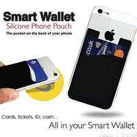 3m handy kleber großhandel-Telefon-Kartenhalter-Silikon-Handy-Mappen-Kasten-Kredit Identifikations-Karten-Halter-Taschen-Stock auf 3M-Kleber mit opp Beutel