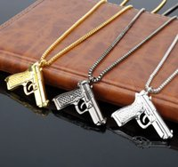 Wholesale gun jewelry charms - 2018 New Gun Pistol Necklace Gold Bling Hip Hop Jewelry Chains for Men Gift DROP SHIPPING 162677