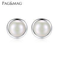 ingrosso grandi orecchini di perle reali-PAGMAG Marchio di moda gioielli in argento sterling 925 reale grande bianco perla orecchini per le donne accessori da sposa partito