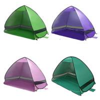 yukarı çadırlar toptan satış-Otomatik Pop Up Kamp Çadırları UV Koruma Siperliği Barınaklar Açık Yürüyüş Için Deniz Plaj Gölgelik Çadır Kısa Gazebo Birçok Renkler 48fl ZZ