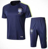 Wholesale grey uniform pants - 2018 brazil survetement soccer tracksuit 18 19 World Cup Brazilians NEYMAR JR Maillot de foot short slevees 3 4 pants football shirt uniform
