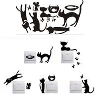 ingrosso interruttore a parete nero-1 Set di 5 gatti neri Cartoon Black Cat Home Switch Stickers personalizzati Wall Stickers Decorated Socket