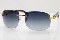 Wholesale Larger Women - Luxury brand Sunglasses Metal Designer 4189705 Black Buffalo Horn Sunglasses brands for Unisex Larger Sunglasses Hot Optical 18K Gold Brown
