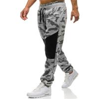 calças de algodão preto casual homens venda por atacado-Calças dos homens Calças Casual Masculino Camuflagem Reta Calças Sweatpants Algodão Atleta de Treinamento Preto Cinza Plus Size M-2XL