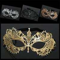 Wholesale face mask rhinestones resale online - WOMENS Halloween masks Metal Rhinestone gorgeous masquerade mask girls party mask Venetian Half face domino mysterious princess masks