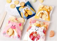 bolsa de regalo de plástico de galletas al por mayor-Cute Animals Candy Cake Biscuits Cookies Packaging Bags Self-adhesive Plastic Gifts Bolsas Party Birthday Snack Baking GA16