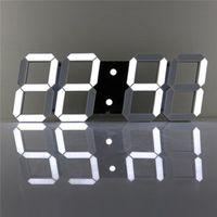 Wholesale led display wall clock - Charminer White Large 3D Acrylic Digital LED Skeleton Wall Clock Timer 24 12 Hour Display Home Decor Modern Design