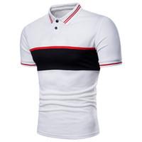 Wholesale Black Polo Large - Summer Fashion Polo Shirt Patchwork Short Sleeve Color Turn-down Lapel T-shirt M-3XL Large Yard Wholesale Price