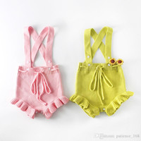Wholesale colored sweater - INS 2 color 2018 European and American Style new arrival baby boy girl Candy colored Cotton Knitting sweater baby romper high quality cotton