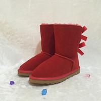 Chaussures de créateur de mode Ugs Femmes Bottes De Neige Style Australien  Vache En Daim En Cuir 2-Noeud Dos Hiver Dame Bottes Courtes 3280 Marque Ivg  Plus ... 842e449710c
