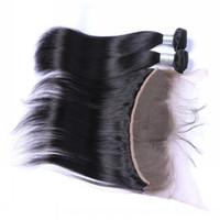 fermeture frontale pérenne virale droite 13x4 achat en gros de-Brésilienne de dentelle frontale 9A non traitée péruvienne indienne malaisienne de soie vierge de cheveux raides avec 13x4 fermeture frontale de dentelle