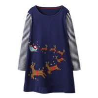 Wholesale european baby clothing online - Princess Dress Autumn Baby Girl Clothes Unicorn Party Jersey Cotton Kids Horse Long Sleeve Dresses Christmas Appliqued Robe Fille
