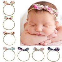 bebek keman baş bandı vintage toptan satış-8 renkler bebek kız bandı bağbozumu çiçek tasarım yay bandı kız saç aksesuarları çocuk aksesuarları