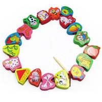 juguetes de cuerda niños al por mayor-Bloques 66pcs / lot 2.5cm Rompecabezas de madera Animal de dibujos animados Bloque de frutas Frutas con cuentas Juguetes para niños Educación de aprendizaje Juguete colorido para niños