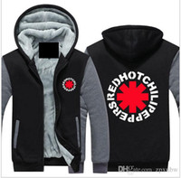 Wholesale 4xl zip up hoodie - High Quality Red Chili Peppers Men Hoodies winter Rock and Roll Thicken Fleece Zip up Mens Jacket USA EU size Plus size -B