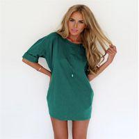 Discount chiffon short round dresses - Round Neck Ruffled Short Sleeve Solid Color Shirt Dress Women Casual Loose Long Blusas Vintage Kaftan Vestido Lady Summer Dresses