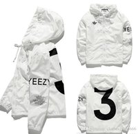 Wholesale Hooded Outerwear Women - KANYE Jacket Men KANYE Hip Hop Windbreaker TOUR 3 Jackets Men Women Streetwear Fashion Outerwear uniform coat black White YEEZUS Y3 Jacket