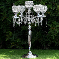 """Wholesale Tall Crystal Candle Holders - 25"""" Tall 5 arm Candelabra Chandelier Crystal Votive Candle Holder Wedding Centerpiece --Silver or Gold"""