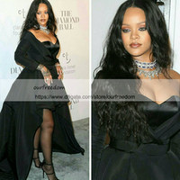 Wholesale rihanna make up for sale - Group buy 2019 Modest Rihanna Black Prom Dresses With Long Sleeve Sweetheart Neck Hi Low Stain Celebrity Dresses Special Occasion Gown Custom Made