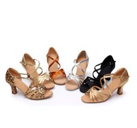 Wholesale Ballroom Dance Fashion - Women's Satin Latin Dance Shoes Salsa Party Ballroom Dancing Shoes Soft Sole Suede Leather Soft Outsole Middle Heel Sandals