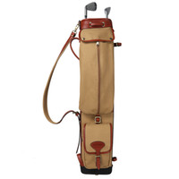 Wholesale Carry Golf Bags - Tourbon Vintage Golf Club Carry Bags Travel Case Canvas and Leather Pencil Style Golf Gun Carrier Clubs Interlayer Cover 87CM0