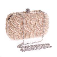 сумки для невест оптовых-Women Pearl Evening Bag Elegant  Bride Party Bag With Chain Female Vintage Clutch Bags Wedding Purse Wallet