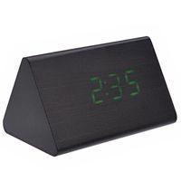 светодиодные цифровые часы зеленый оптовых-012-10 triangle Shaped Voice Activated Green LED Digital Wood Wooden Alarm Clock with Date /Temperature (Black)