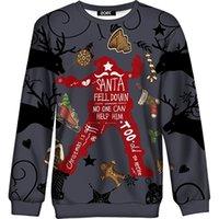 koyu gri hoodie toptan satış-Kadın Kazak 2018 Kış Santa Sleigh Noel Stocking Baskı Uzun Kollu Kazak Üst Kızlar için Boy Hoodie Koyu Gri