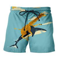 nova girafa venda por atacado-YX GIRL Chegada nova moda Giraffe Shark Attack Shorts calções de praia homens e mulheres praia verão navio livre