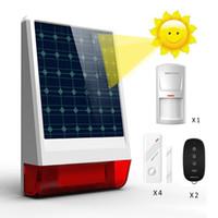 alarma sirena puerta sensor al por mayor-Sistema de alarma de seguridad antirrobo simple solar de 120db inalámbrico Sirena a prueba de intemperie al aire libre Puerta / ventana Sensor de movimiento PIR Fob Control remoto