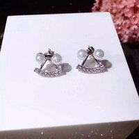 Wholesale Pearl Smile - Smile Cute Lovely Cool Pearl Stud Earring Shinning Cubic Stone Young Lady Solid 925 Silver