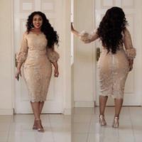 Wholesale Pictures Pretty Black Women - 2018 New Plus Size Cocktail Dresses Jewel Neck Applique 3 4 Sleeve Zipper Tea Length Prom Dress Fashion Champagne Pretty Woman Party Dress