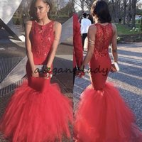 Wholesale short black dreses resale online - Glamorous African Mermaid Prom Dreses Lace Appliques Jewel Neck Sleeveless Satin Long Party Dress Sexy Fluffy Train Evening Dresses