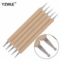 ногти 5pcs оптовых-WUF 5Pcs/Pack Nail Art Tools Wood Handle Painting Drawing Brush Pen 2 Way Nail Art Dotting Tool 16