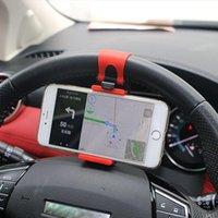 iphone jant toptan satış-Evrensel Araç Direksiyon Klip Montaj Tutucu iPhone 8 için 7 7 Artı 6 6 s Samsung Xiaomi Huawei Cep Telefonu GPS