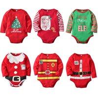 weihnachtsjunge präsentiert großhandel-Baby Weihnachten Onesies Strampler Neugeborenen Boy Girl Designer mein 1. Weihnachtsgeschenk geben mir Geschenke oder Elf Santa gute Baum Uniform gedruckt 6-24m