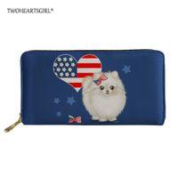 célula bonito da senhora venda por atacado-Twoheartsgirl mulheres carteiras de couro azul pomeranian cão saco de mão de embreagem bolsa da moeda bonito das senhoras titular do cartão saco de telefone celular
