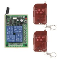 Wholesale 4ch remote control transmitter - DC 12V 24V 10A 4 CH 4CH RF Wireless Remote Control Switch System,2 X Peach Transmitter + Receiver,315 433.92MHz