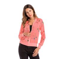 casaco de fios venda por atacado-Blusa de praia de primavera de manga longa casaco feminino cor ponto zipper cardigan